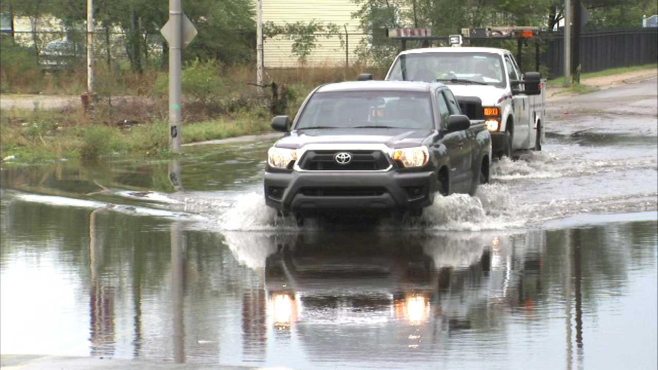 Heavy rain causes flooding in Gary