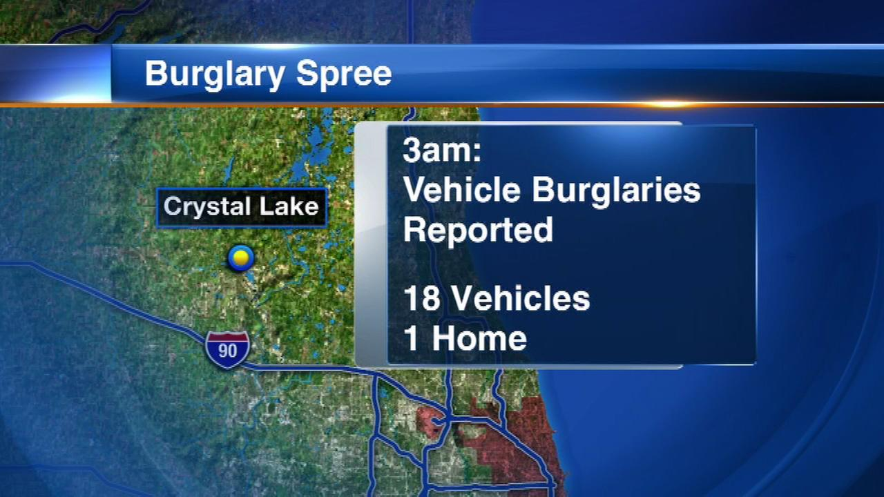 Police are searching for the person who went on a burglary spree in northwest suburban Crystal Lake.