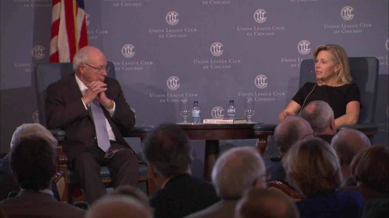 Dick Cheney and Liz Cheney speak at Chicagos Union League Club.