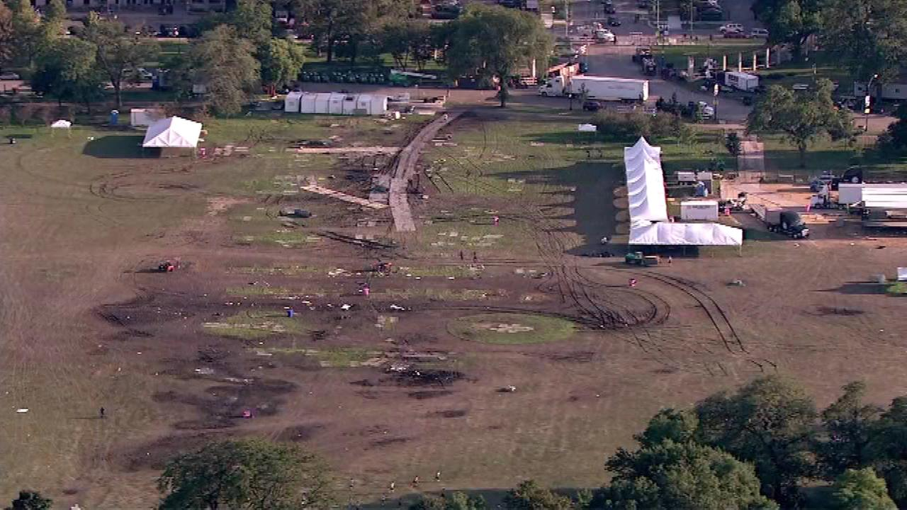 Damage in Douglas Park as a result of Riot Fest.