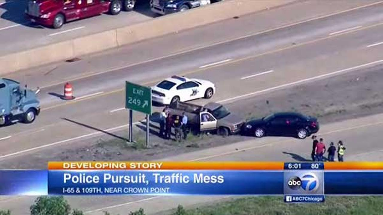 A police pursuit followed a carjacking through Porter and Lake County in northwest Indiana Friday afternoon, leaving a traffic mess for the evening commute.