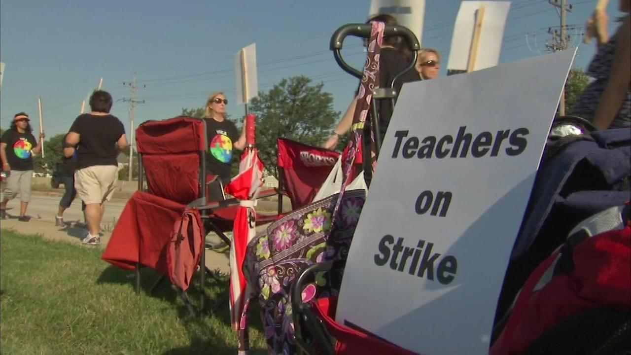 Day two of the teachers strike in Prospect Heights.