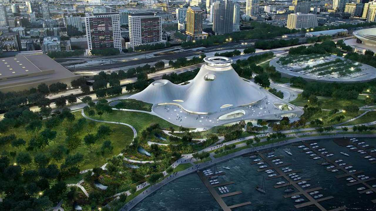 A rendering of the redesigned Lucas Museum.