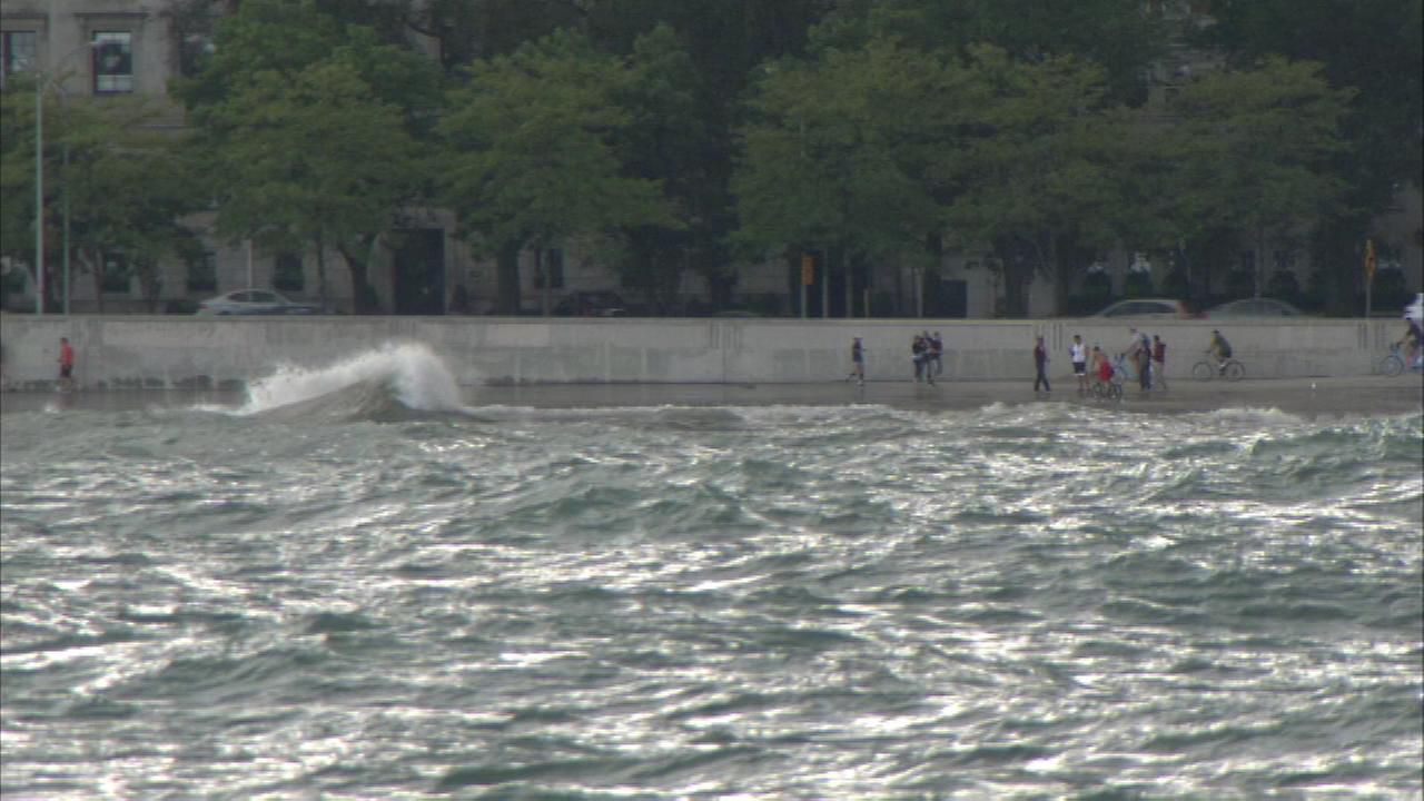 Strong winds triggered some big waves on Lake Michigan causing plenty of chop in those waters along Chicagos beaches.