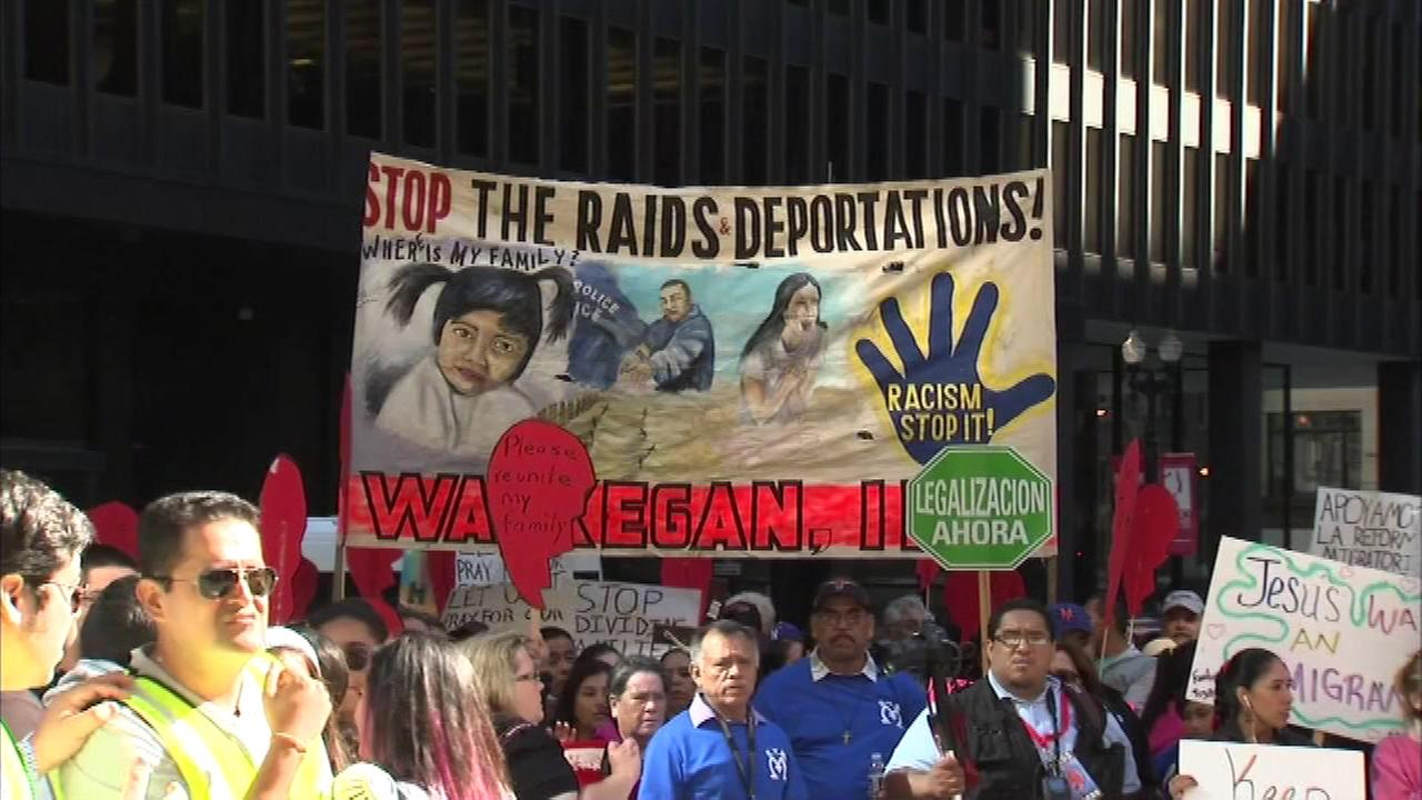 Catholic pilgrims gathered in Federal Plaza downtown Saturday celebrating the 10th anniversary of the churchs campaign to reform immigration in the United States.