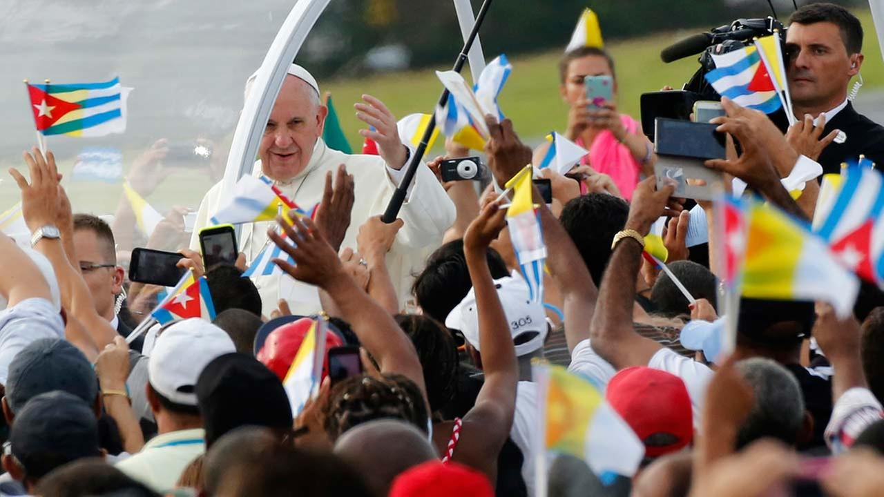 Pope Francis arrives for Mass at Revolution Plaza in Havana, Cuba on Sept. 20, 2015.