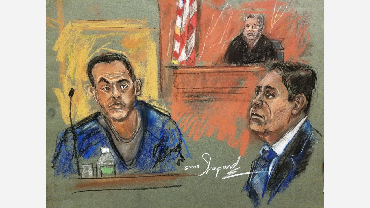 Chicago drug cartel witness Pedro Flores (left) with Joaquin El Chapo Guzman Loera testifying in Brooklyn courtroom on Tuesday.