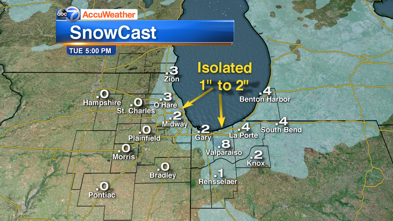 Chicago Weather: Lake-effect snow Monday night, Tuesday morning