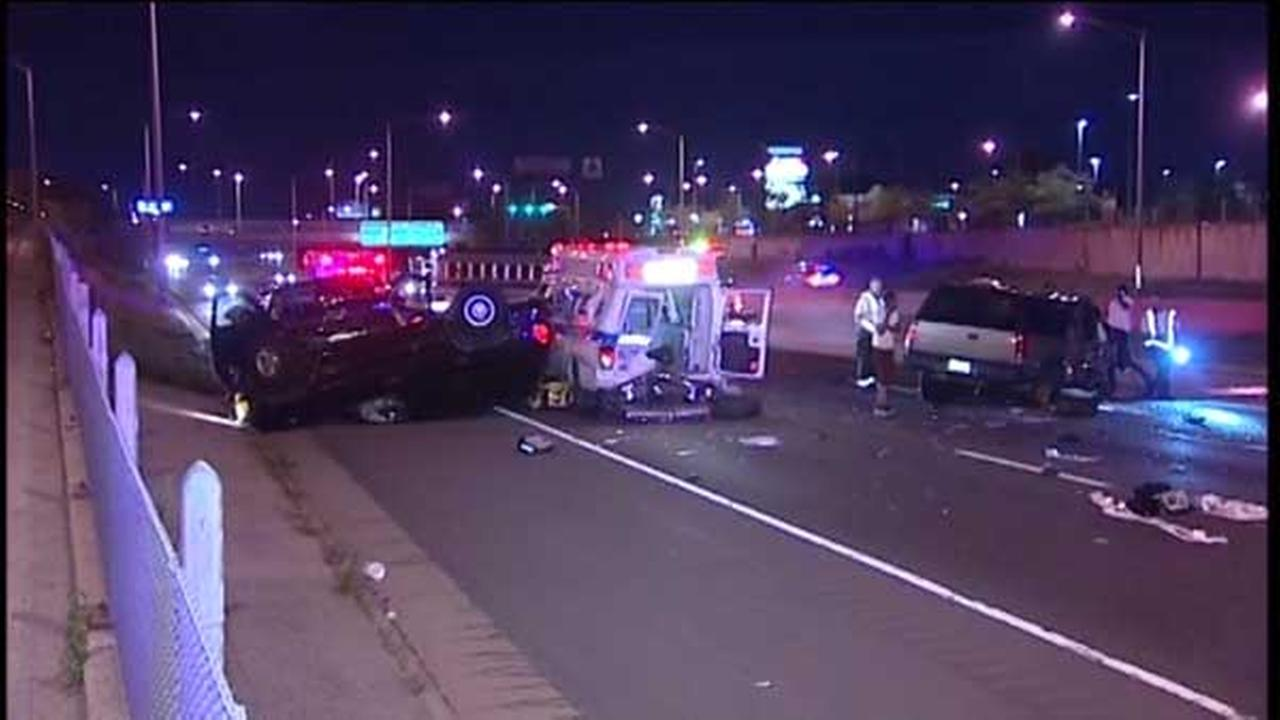 Eight people were injured in a rollover crash involving five vehicles on northbound I-57 near 119th Street.