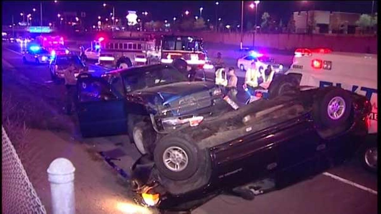 Eight people were injured in a rollover crash involving five vehicles on northbound I-57 near 119th Street. Two other drivers were injured in a secondary crash on southbound I-57.