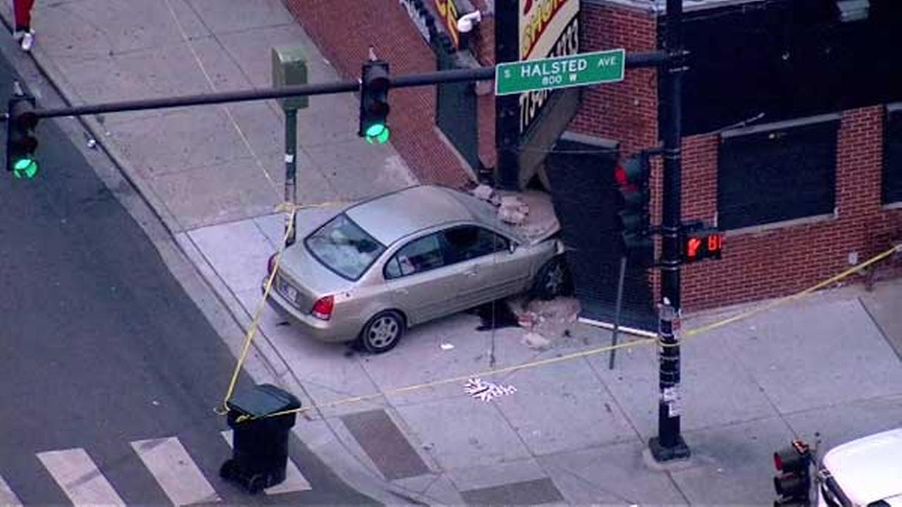A car crashed into a building at the corner of West 79th and South Halsted streets Chicagos Gresham neighborhood.