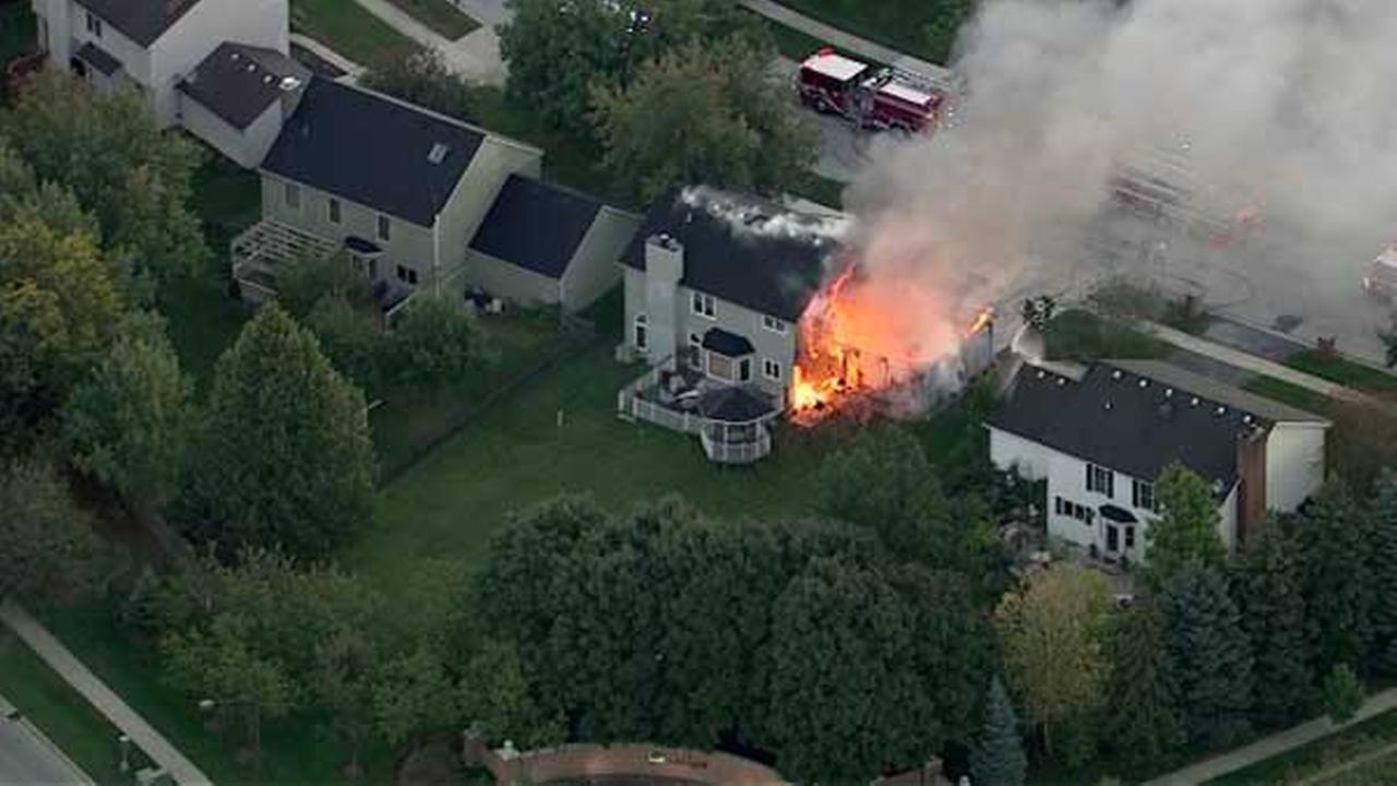 A garage went up in flames in west suburban Aurora.