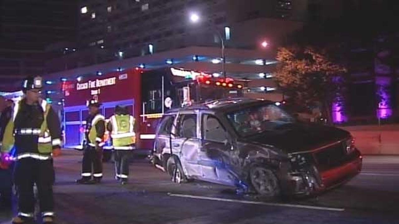 Six people were injured in a rollover crash on northbound Lake Shore Drive near Ontario Street in Chicagos Streeterville neighborhood.