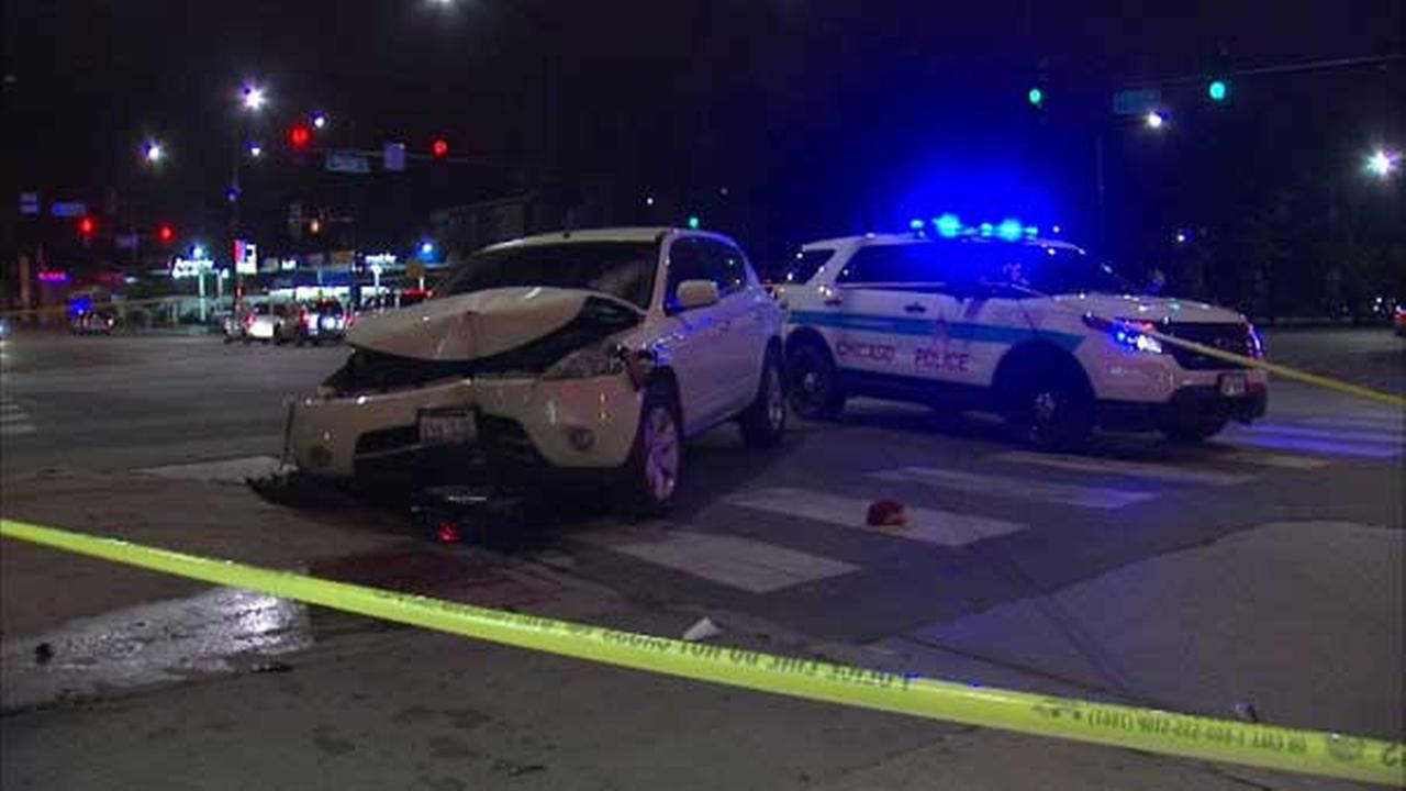 A man was arrested after he allegedly struck a woman on Chicagos Southwest Side while fleeing police in a stolen car.