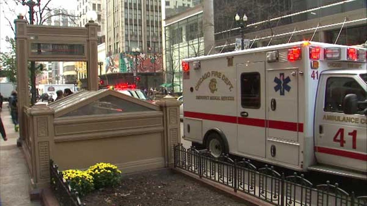 CTA Red Line trains heading north to Howard were temporarily rerouted to the elevated tracks Wednesday morning after a passenger was injured at the Monroe station.