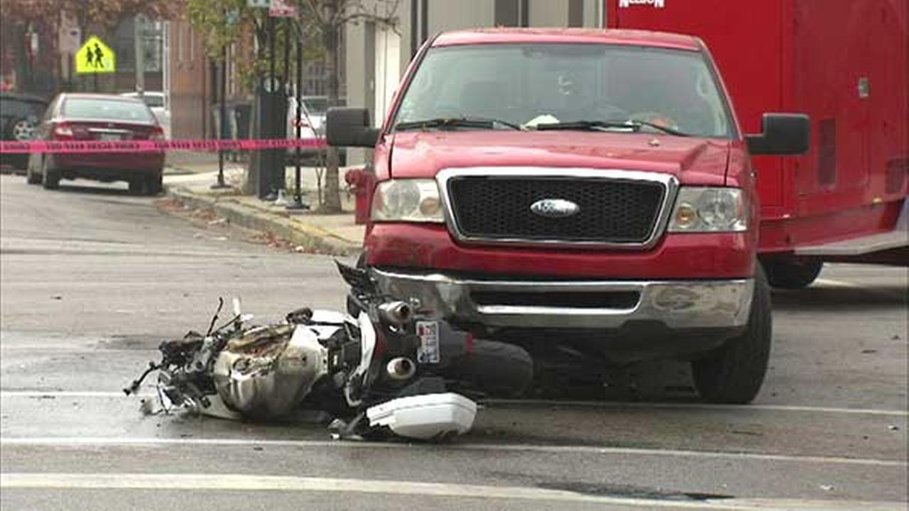A motorcyclist was killed in a crash in Chicagos West Town neighborhood.