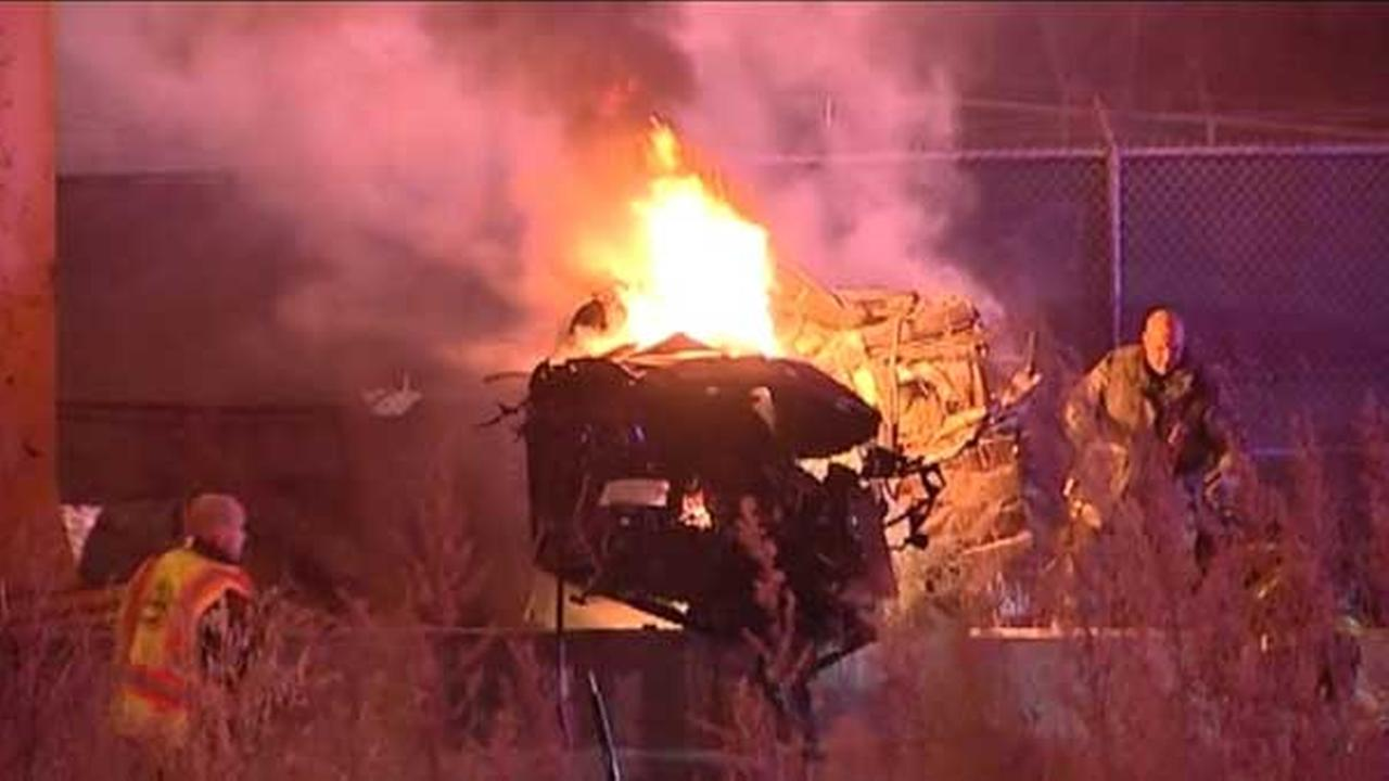 Two men were killed in a fiery single-vehicle crash on the Chinatown feeder ramp from the inbound Dan Ryan Expressway on Chicagos South Side.