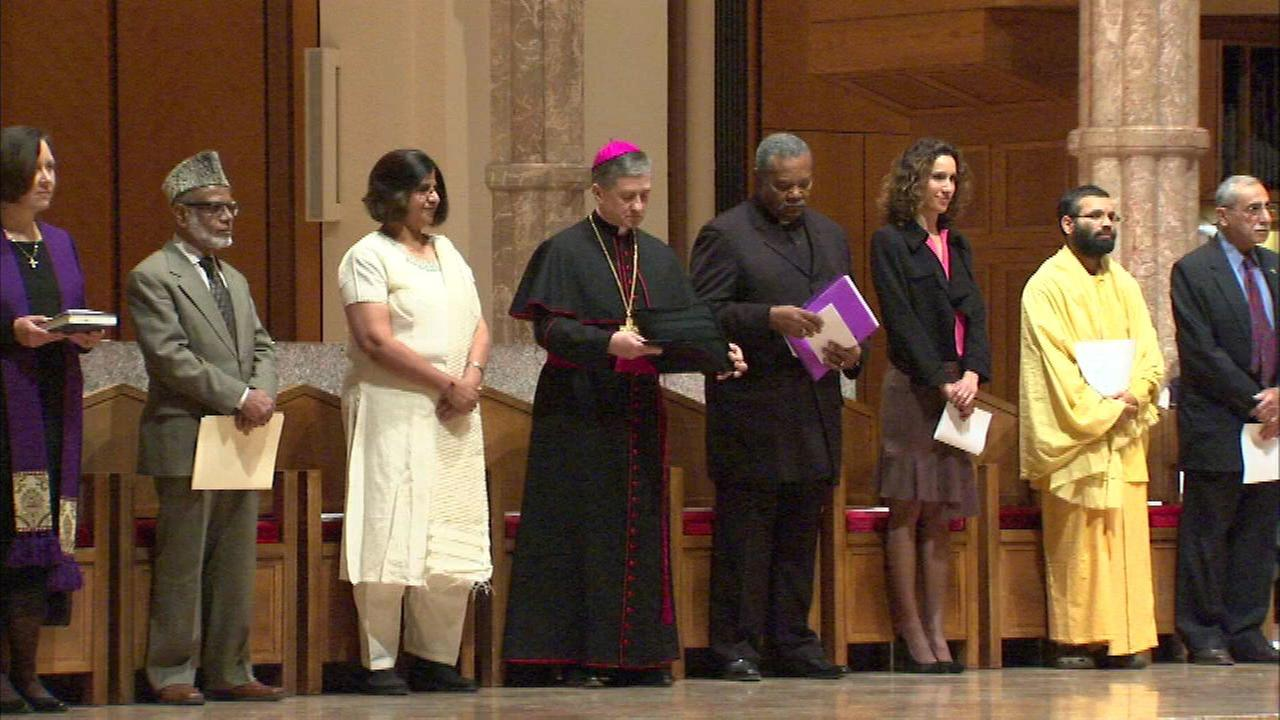 Archbishop Blase Cupich led an interfaith prayer service at Holy Name Cathedral on Tuesday night.