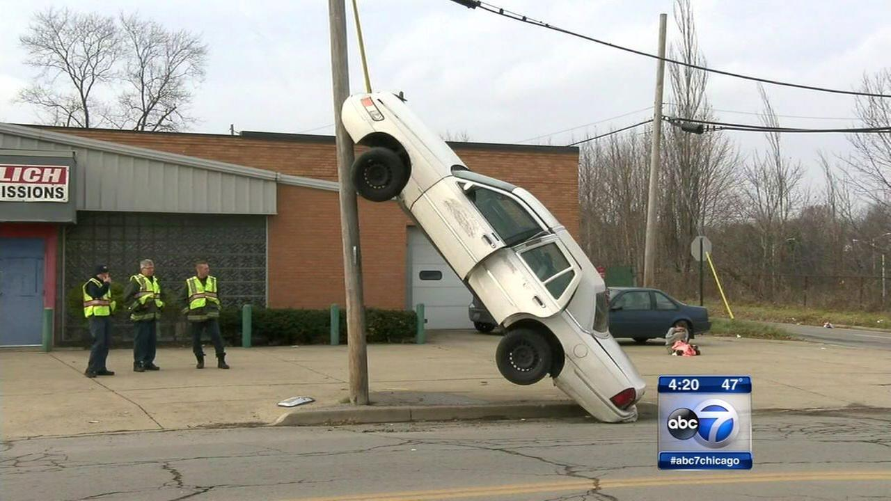 A car ended up in an unusual position after a crash in Youngstown, Ohio.
