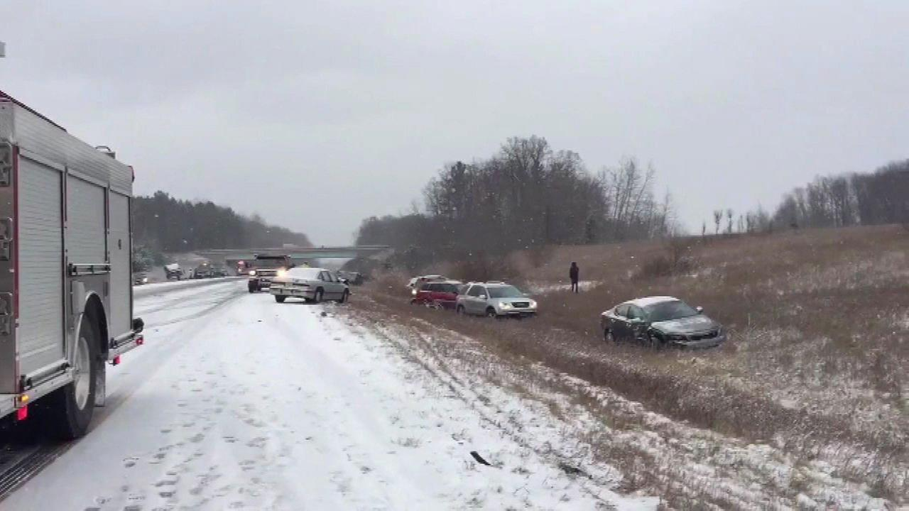 Snowy conditions cause multiple spin-outs, crashes in west Michigan