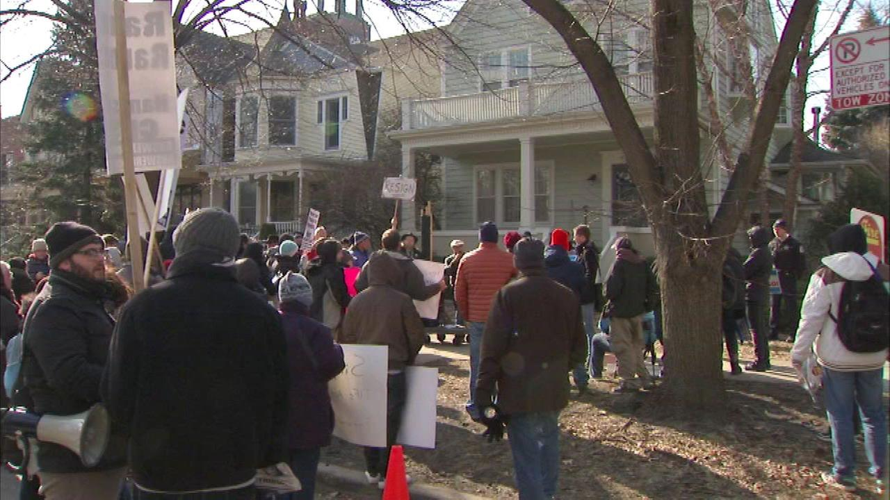 Protesters outside Mayor Rahm Emanuels home on Sat., Feb. 6, 2016.