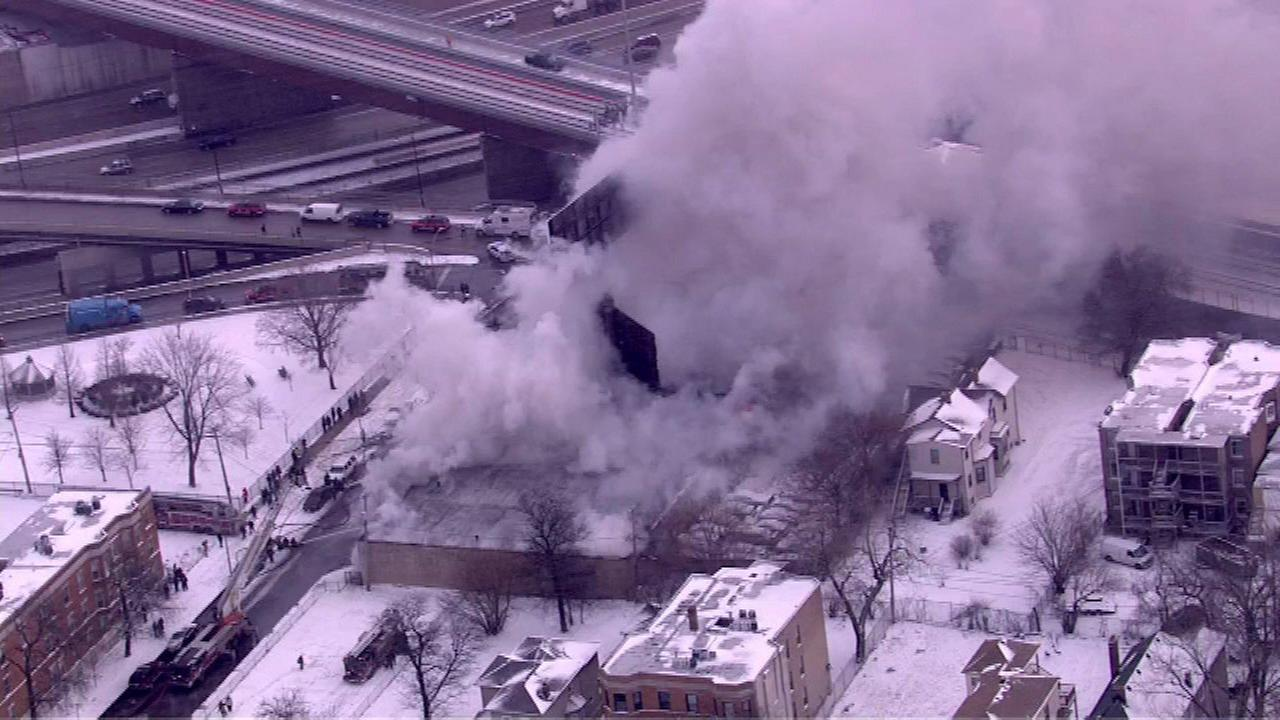 Fire breaks out at auto body shop in Englewood
