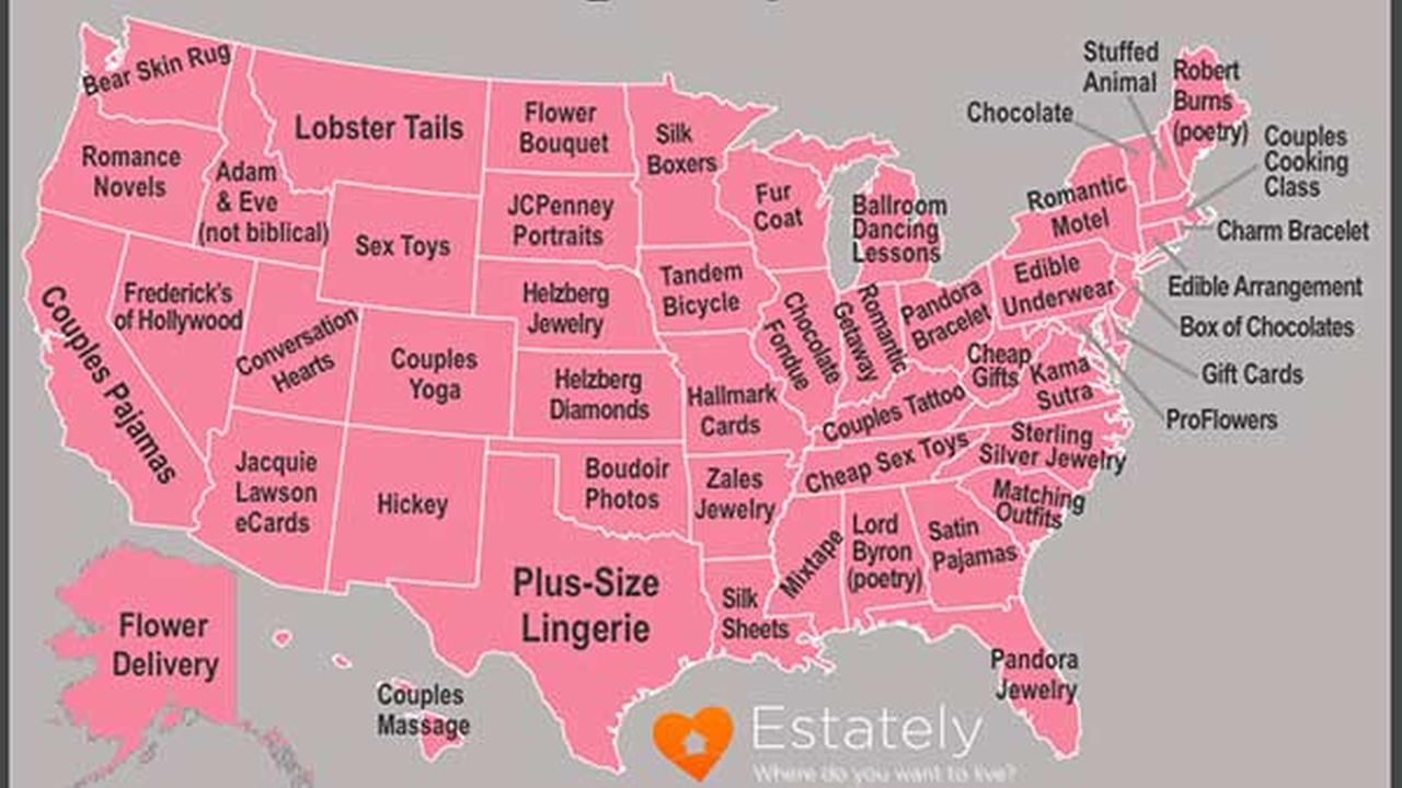 Most popular Valentine's Day searches by state