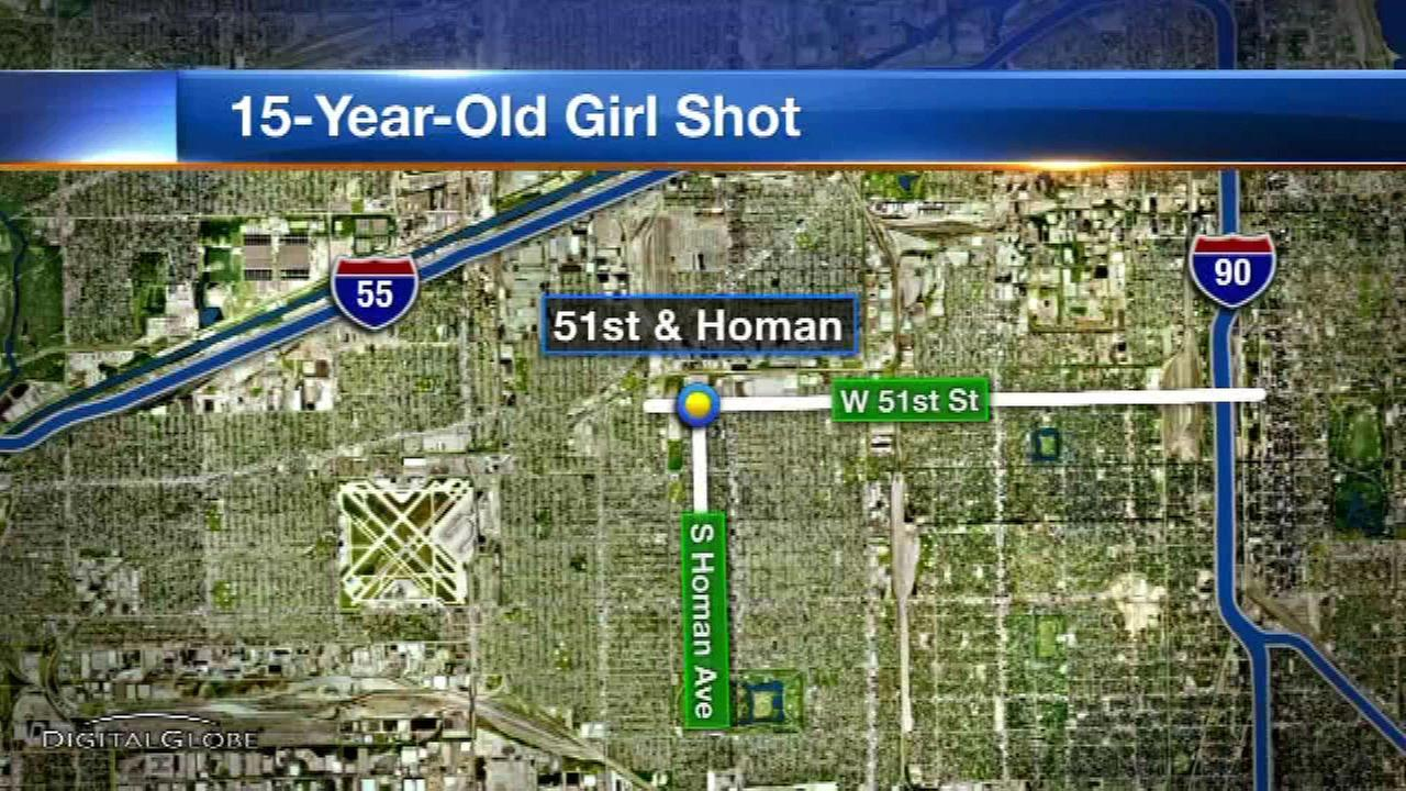 A 15-year-old girl was shot while walking in Chicagos Gage Park neighborhood on the Southwest Side.