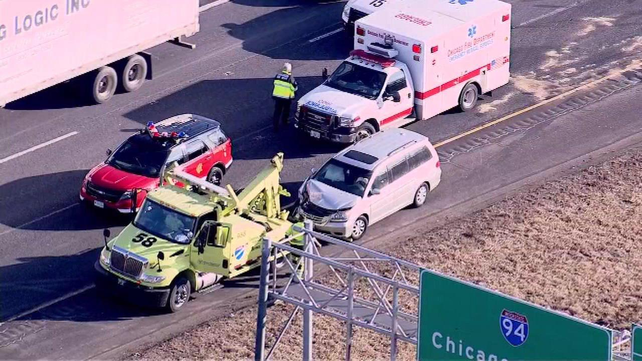 Up to nine people, including several children, were hurt in a crash involving three vehicles on outbound I-57 near Halsted Street Monday morning.