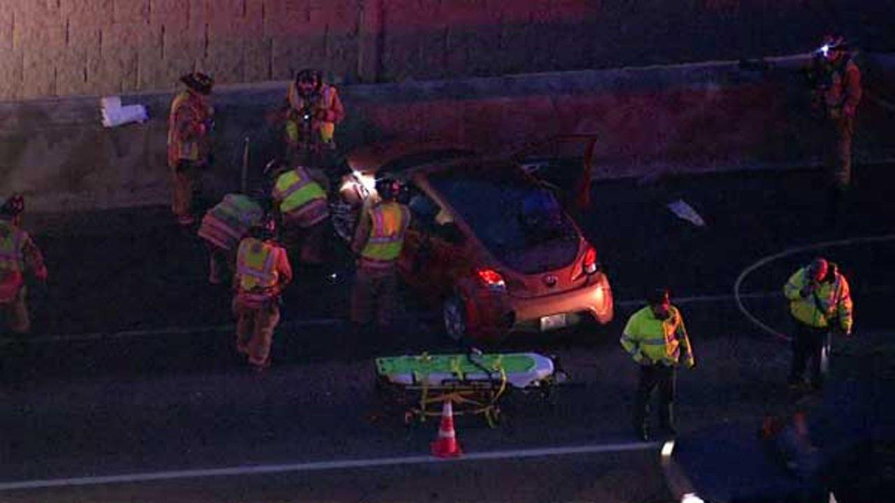 One person was injured in a crash that shut down the right lane of the eastbound Jane Addams Memorial Tollway Tuesday morning in northwest suburban Hoffman Estates.