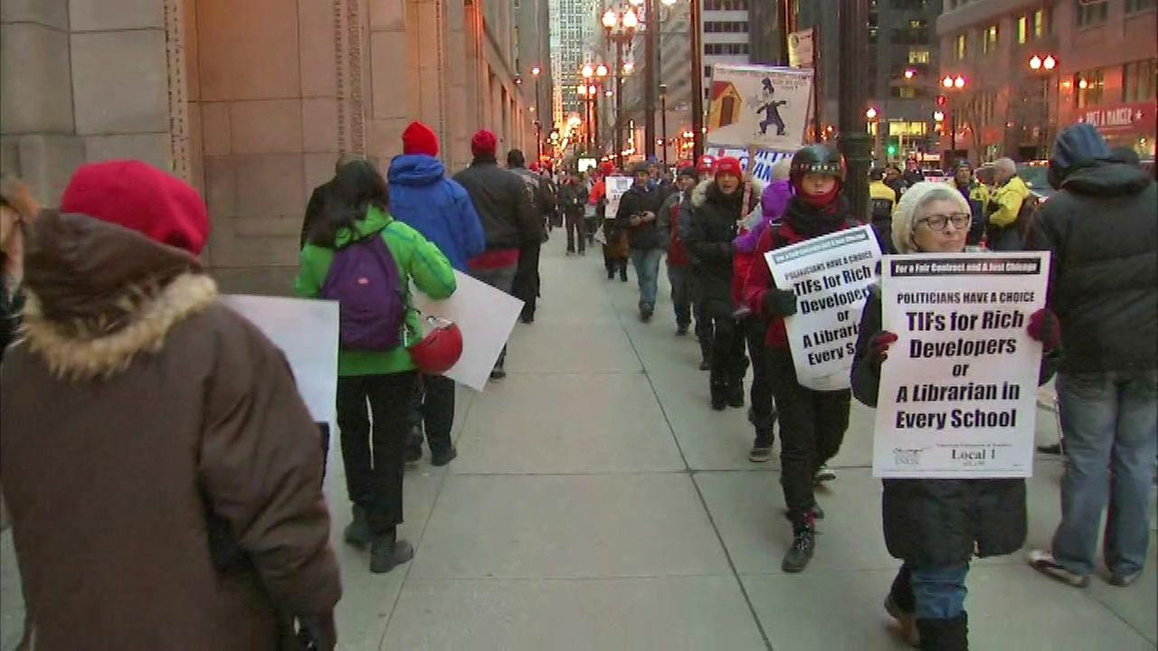 Chicago Teachers Union protests River Point Development TIF