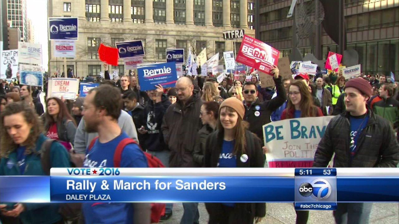 Bernie Sanders support rally, march held in Chicago