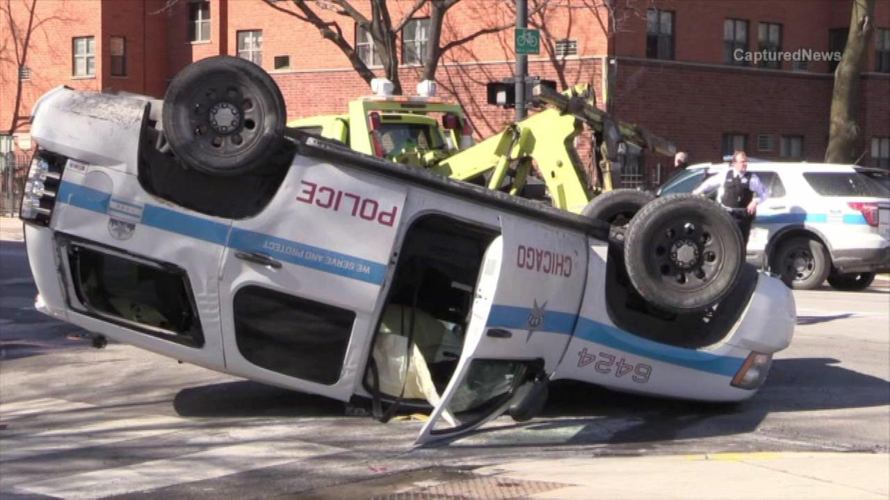 Car hits police SUV in Logan Square, police say