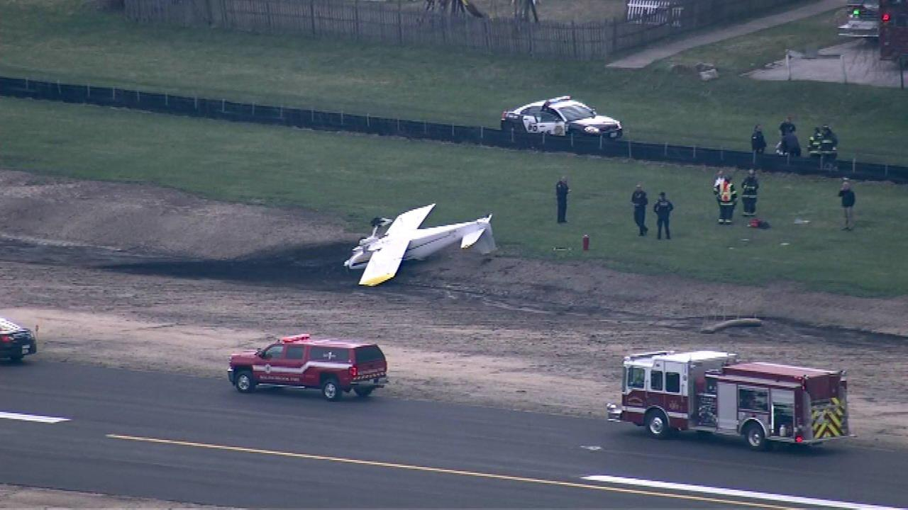 A small plane skidded off the runway and overturned at Clow International Airport in Bolingbrook.