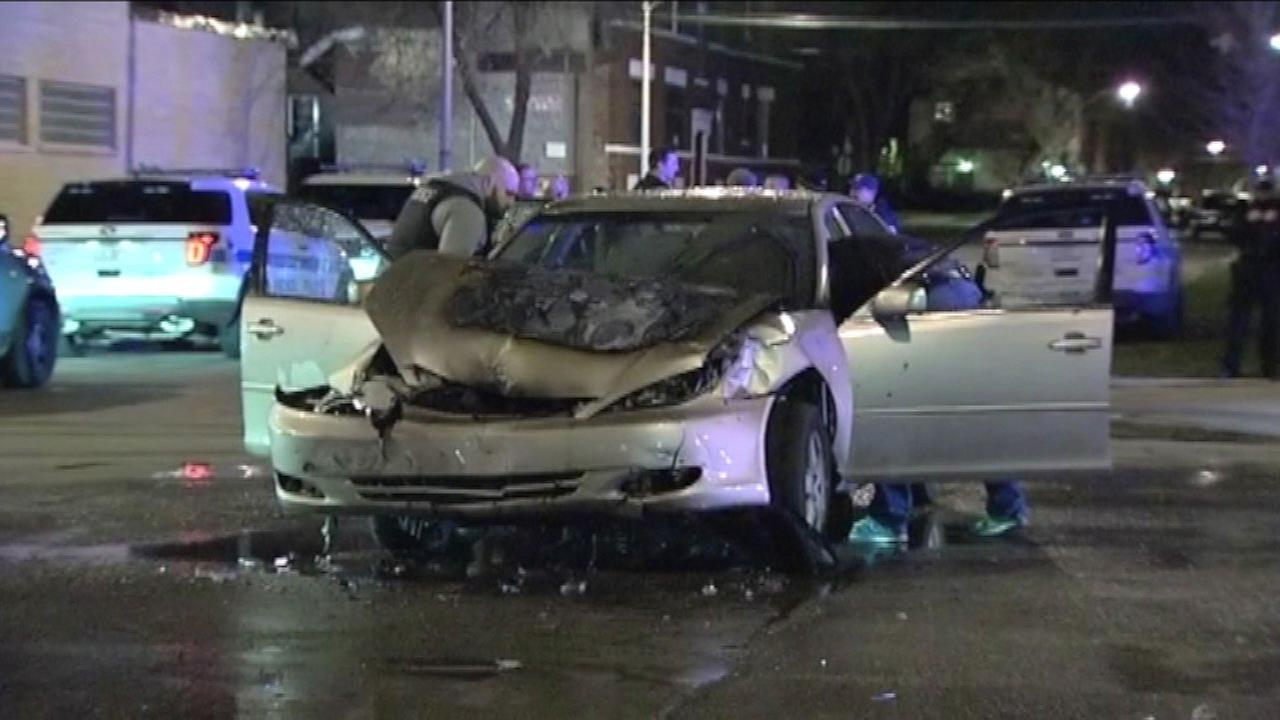 South Side chase ends in fiery crash; driver in custody