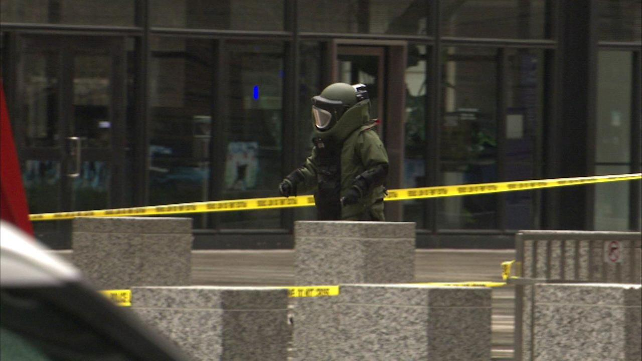 A suspicious package was found April 10, 2016 at the Federal Building in Chicago.