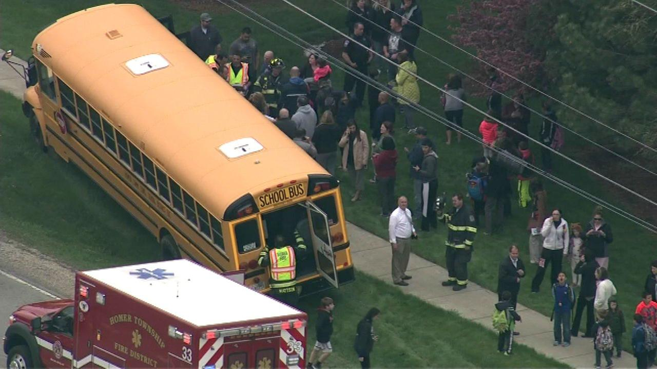 Several people were injured in a crash involving a school bus Thursday afternoon in southwest suburban Lockport.
