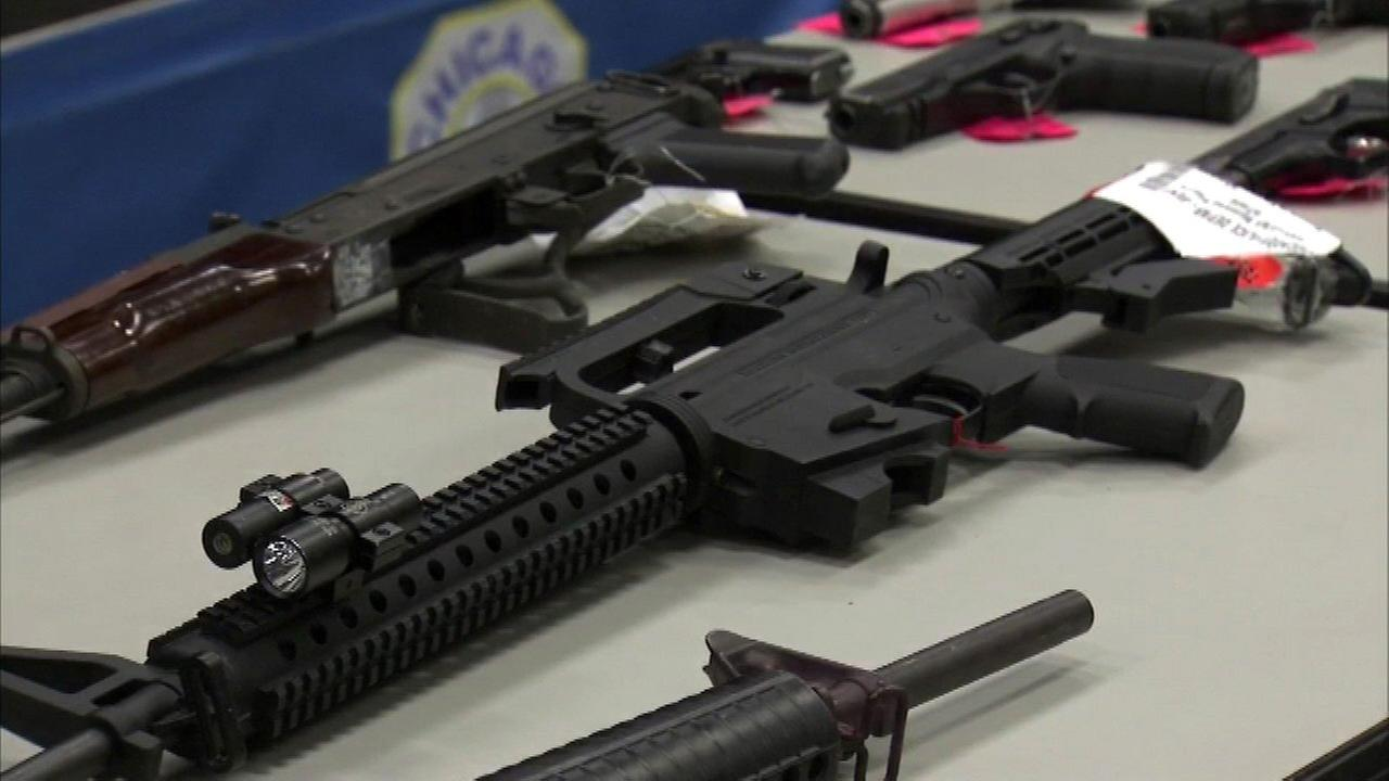 Some of those weapons were on display Thursday at police headquarters.