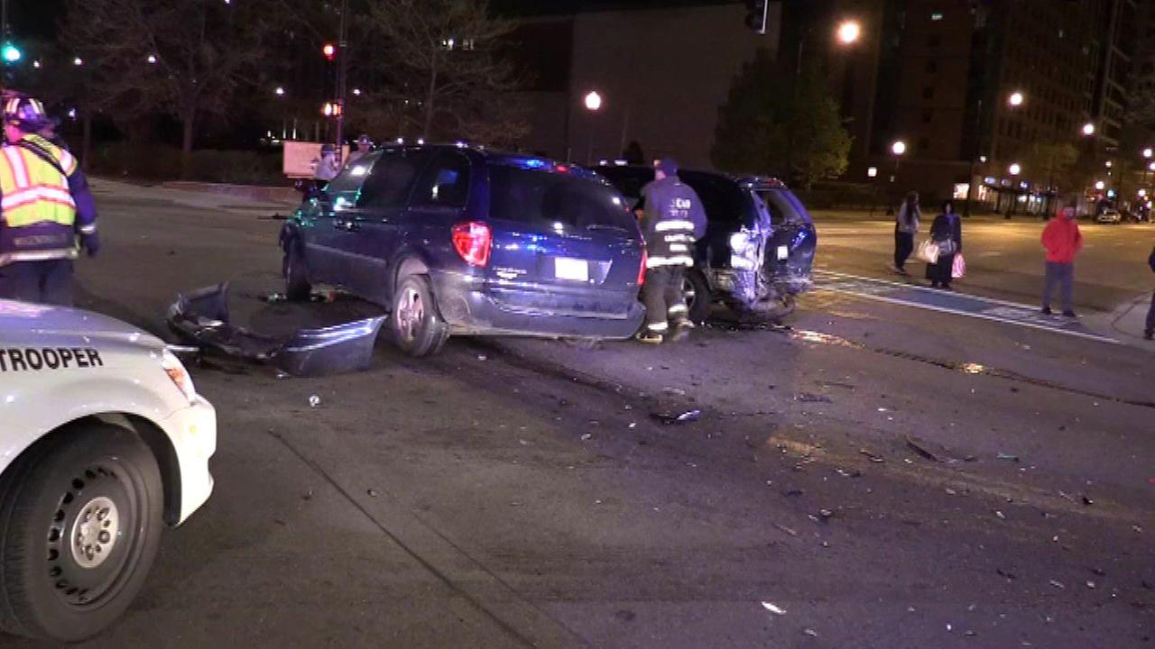 Driver fleeing state police crashes into 2 vehicles in South Loop
