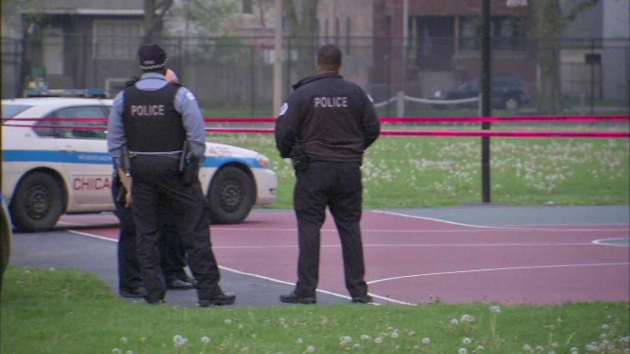 Chicago police investigate a stabbing at Russell Square Park  on May 11, 2016.