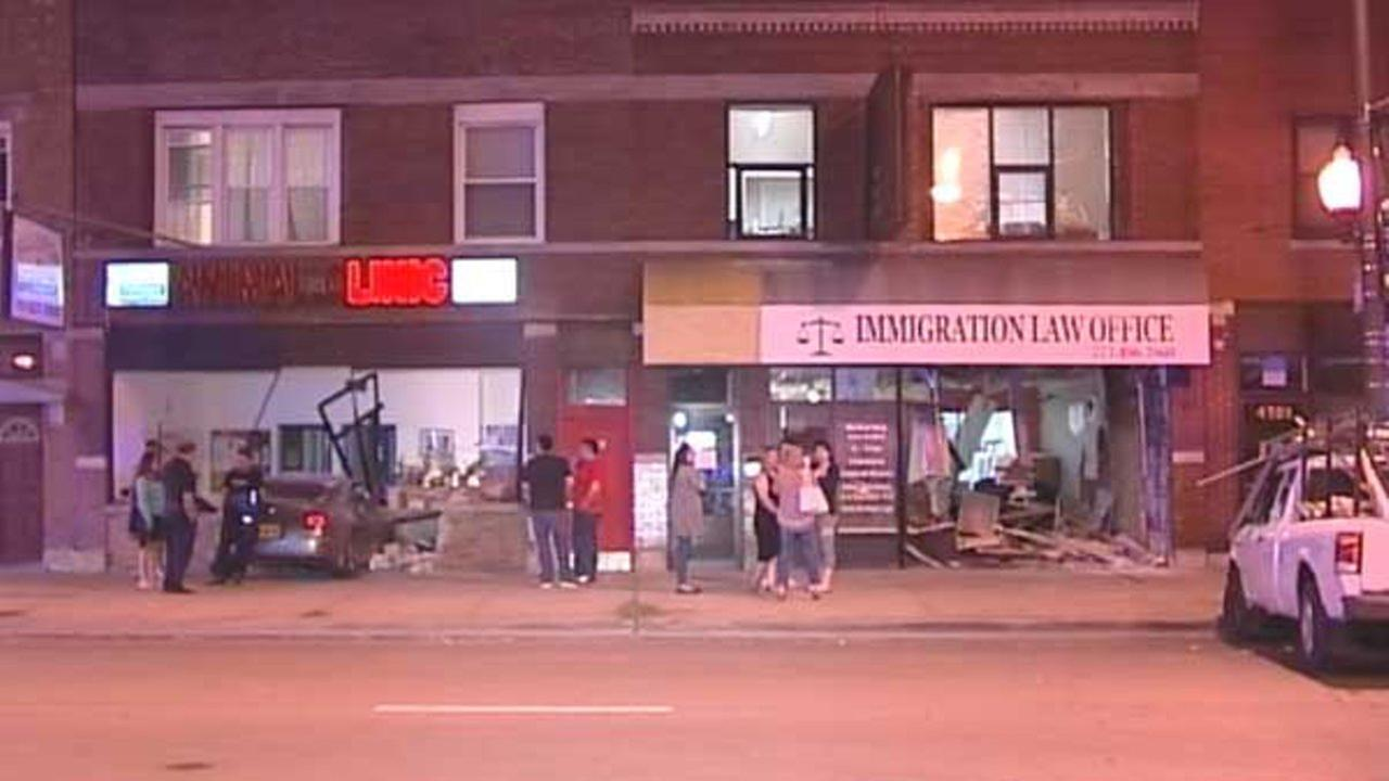 Pickup, car crash into 2 Northwest Side businesses