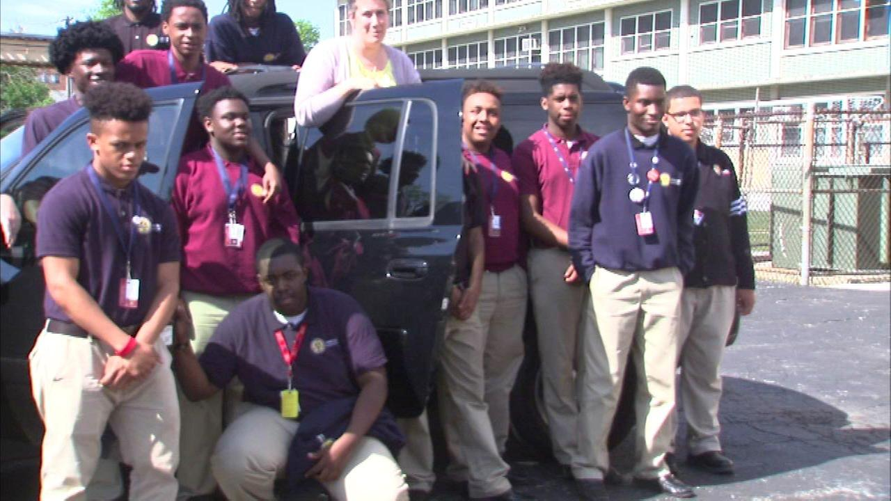 Some high schoolers on the South Side are all smiles thanks to a generous donation by a Chicago police officer.