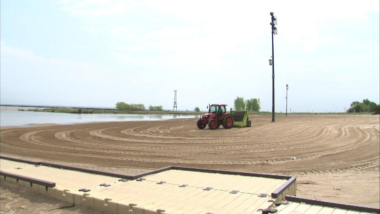Chicago beaches opened for the season on Friday. The park district was out prepping the sand for the official opening.