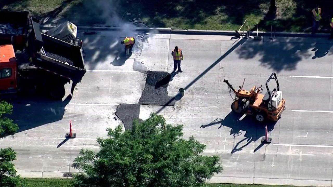 Road crews are making emergency repairs in the southbound lanes of Lakeshore Drive near 47th Street.