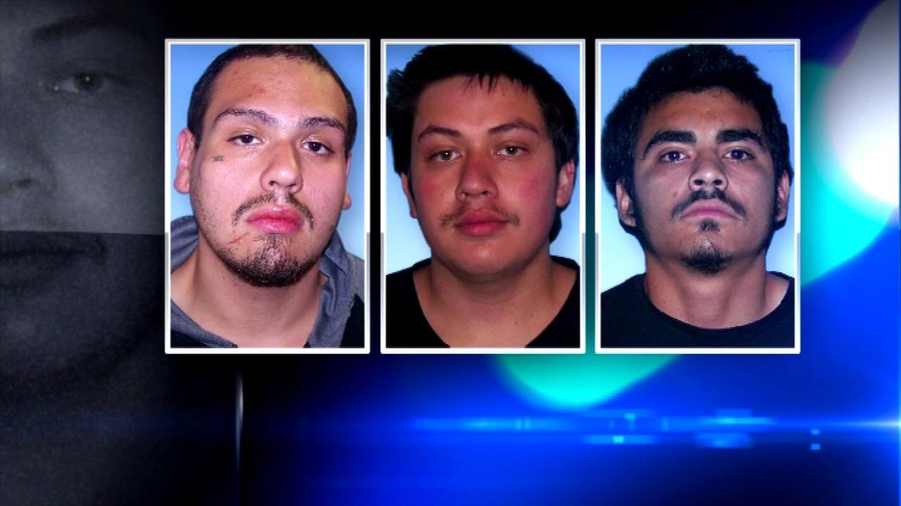 Johnathan Cardona (right), William Servin (middle) and Olvan Quezada (left) all face charges in connection to a shooting.