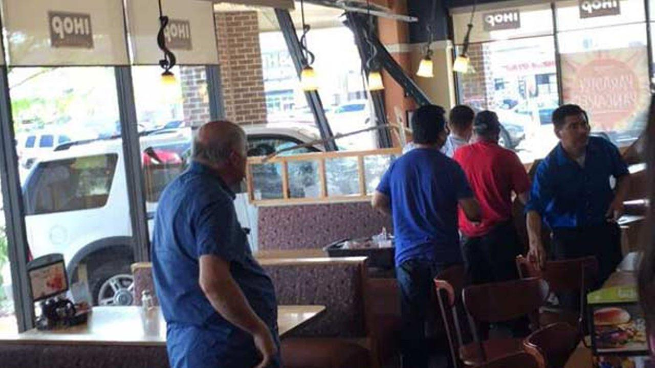 A car slammed into an IHOP restaurant in northwest suburban Norridge. Photo courtesy: Jason Katz.