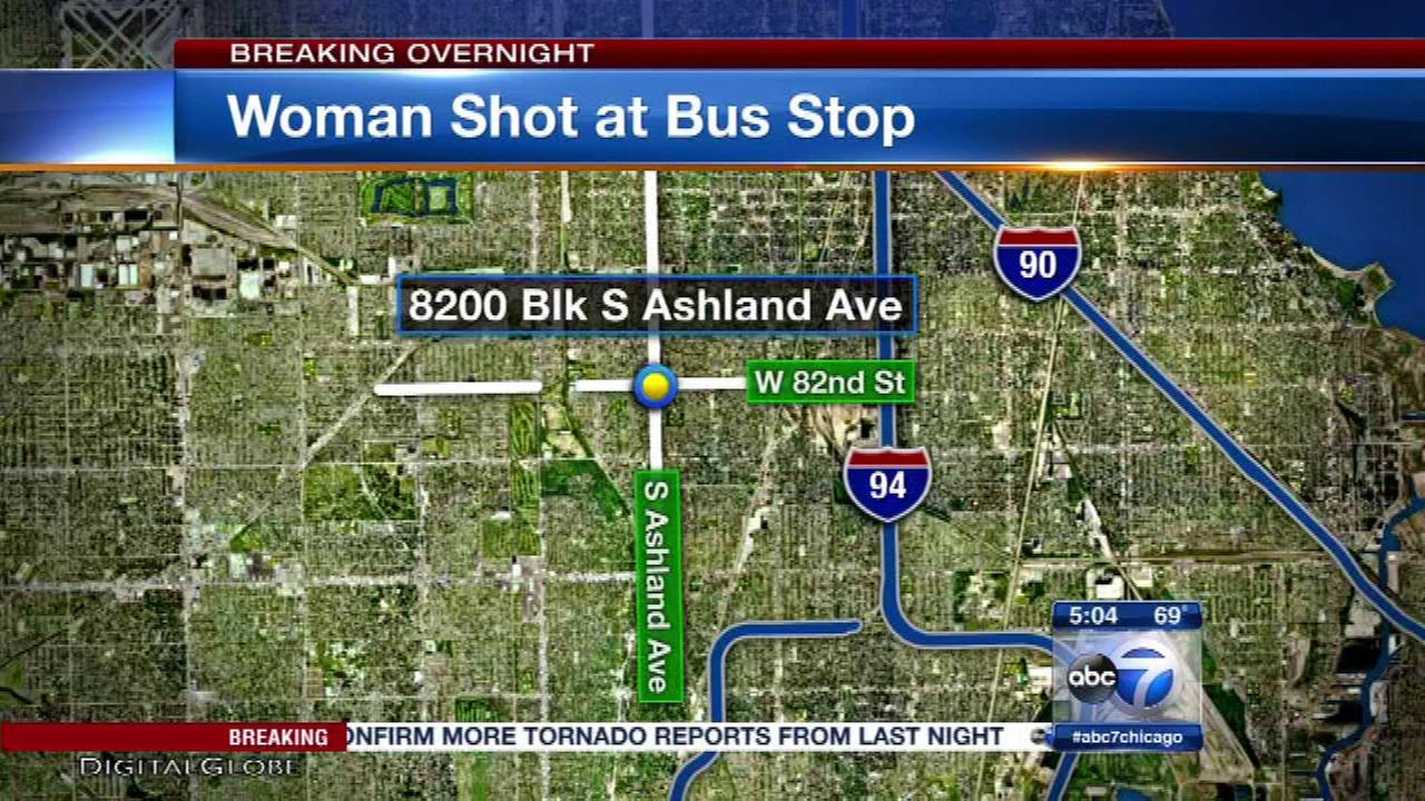Woman shot by robber at South Side bus stop