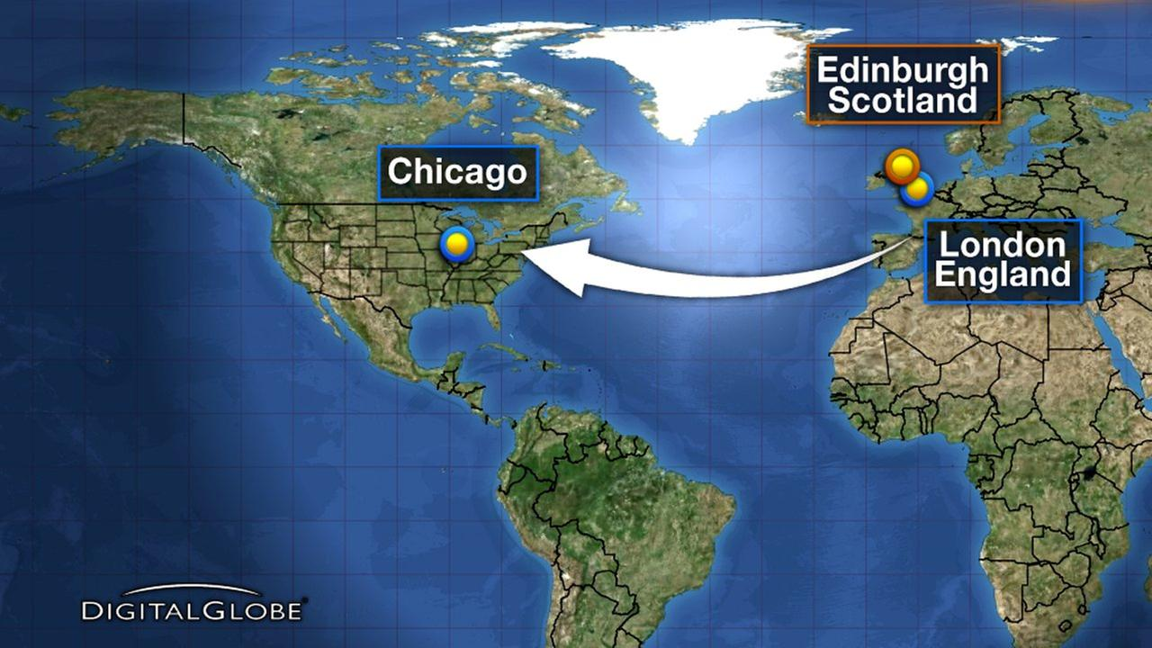 United flight from London to Chicago diverts to Scotland