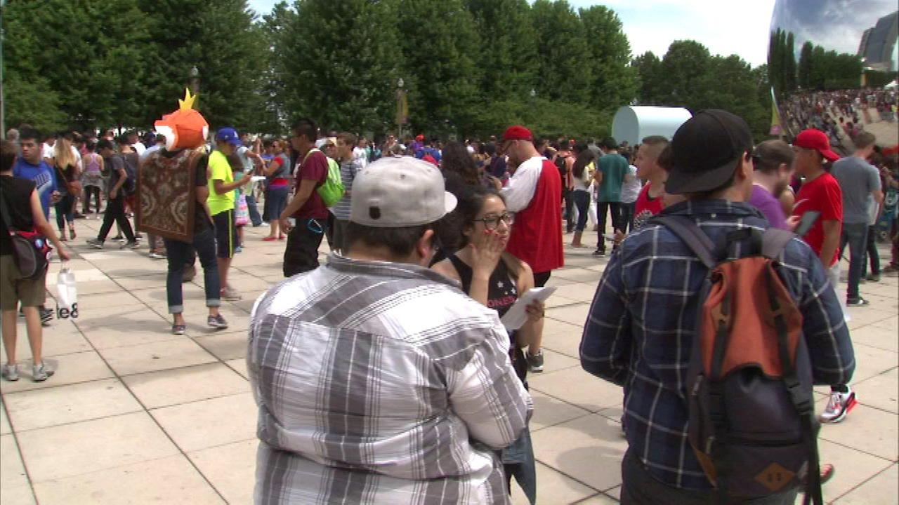 Pokemon fans gather at the Bean in Millennium Park