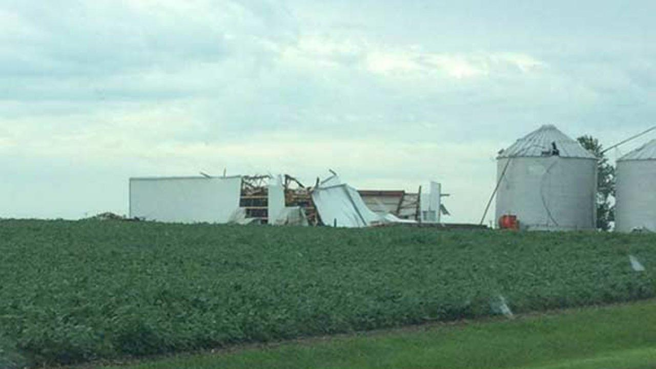 A barn collapsed during severe weather approximately five miles southwest of Herscher, Illinois, in Kankakee County.